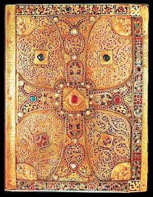 Самый распространенный вид отделки кожаного переплета в XV веке