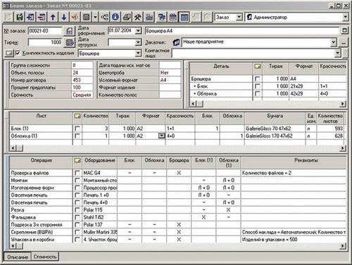 Бланк заказа в системе PrintEffect