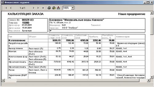 Калькуляция заказа в системе PrintEffect