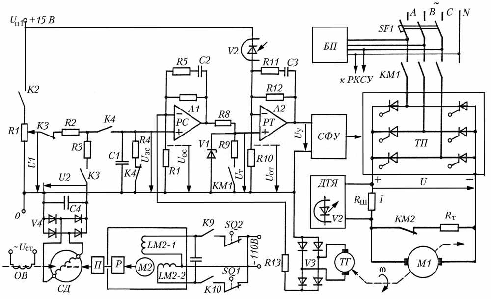 Схемы электроприводов с тиристорным преобразователем.