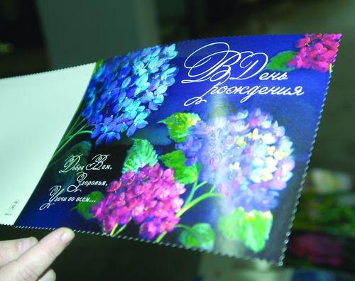 Пример фигурной вырубки поздравительной открытки на машине BOBST SP-102