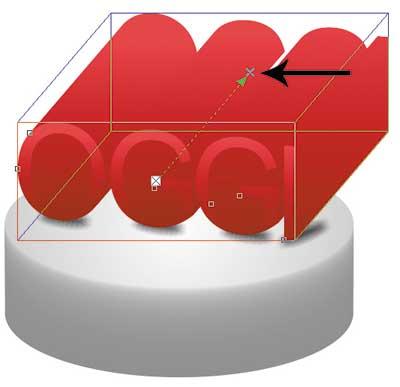 Рис. 12. К исходной надписи добавлена тень (а); результат применения типа выдавливания Параллельно назад (б); готовый эффект объема, созданный инструментом Выдавливание (в)