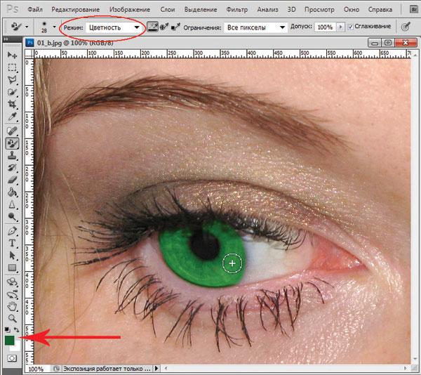 Рис.2.Окно программы Photoshop, инструмент Замена цвета
