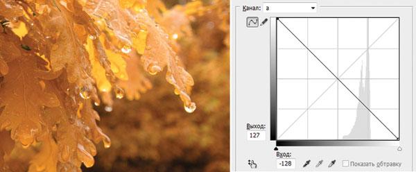 Рис. 12. Результат перекраски листьев в светло-коричневый цвет путем инвертирования прямой в канале a