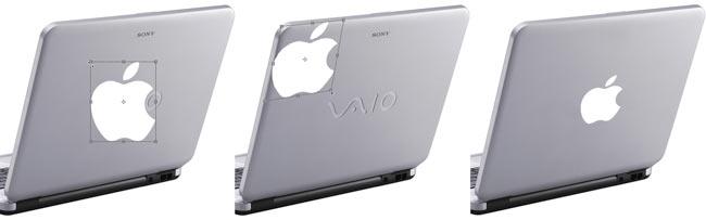 Рис. 3. Превращение ноутбука Sony VAIO в Macintosh. К логотипу Apple применена команда Искажение