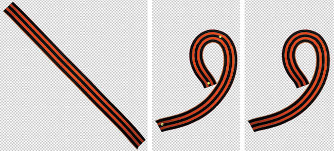 Рис. 12. Примеры использования марионеточной деформации: а— встаем на мостик, б— изгибаем георгиевскую ленточку в девятку