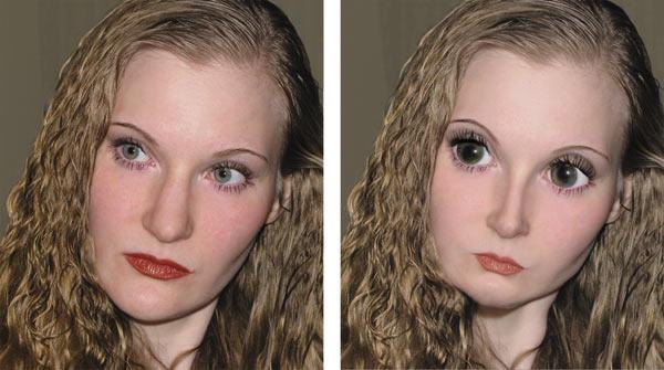 Рис. 18. Исходное портретное изображение девушки (а) и результат обработки его фильтром Пластика (б)